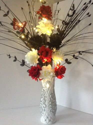 Artificial Silk Flower Arrangement In Red /& Black Big White Vase Light Up