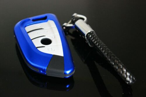 Full Covered Blue Aluminium Silicon Key Fob Remote Case Cover for BMW X5 X6 X1