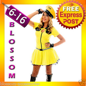 F62-Ladies-Yellow-Cab-Taxi-Driver-Fancy-Dress-Hens-Night-Party-Costume-amp-Hat