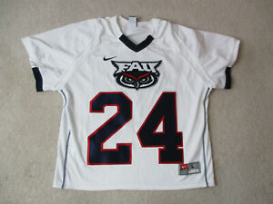 new style 20871 71f2a Details about Nike FAU Owls Lacrosse Jersey Adult Large White LAX Florida  Athletic Game Used