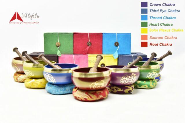 Chakra Healing Tibetan Singing Bowls  Set of 7 for Meditation-handmade in Nepal