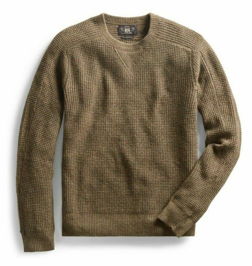 Knit Waffle Cashmere Rrl Thermal Nwt Men's Olive Sweater Retail RLq35Aj4