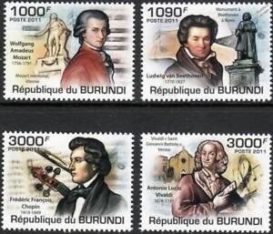 CoopéRative Musique Classique Compositeurs Statues & Instruments Stamp Set (2011 Burundi)-afficher Le Titre D'origine