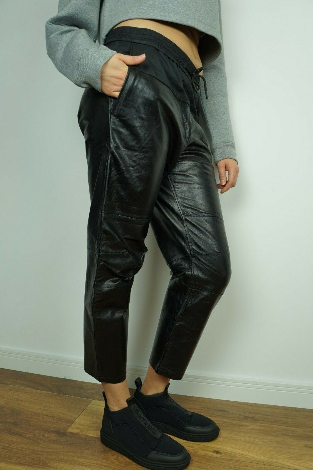 NEW H&M ALEXANDER WANG PANTS LEATHER JOGGING TROUSERS US 4 6 8 10 12 34 36 38 40