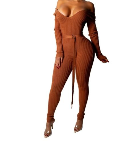 USA Women Off Shoulder With Belt V Neck Long Sleeve Night Club Knitting Jumpsuit