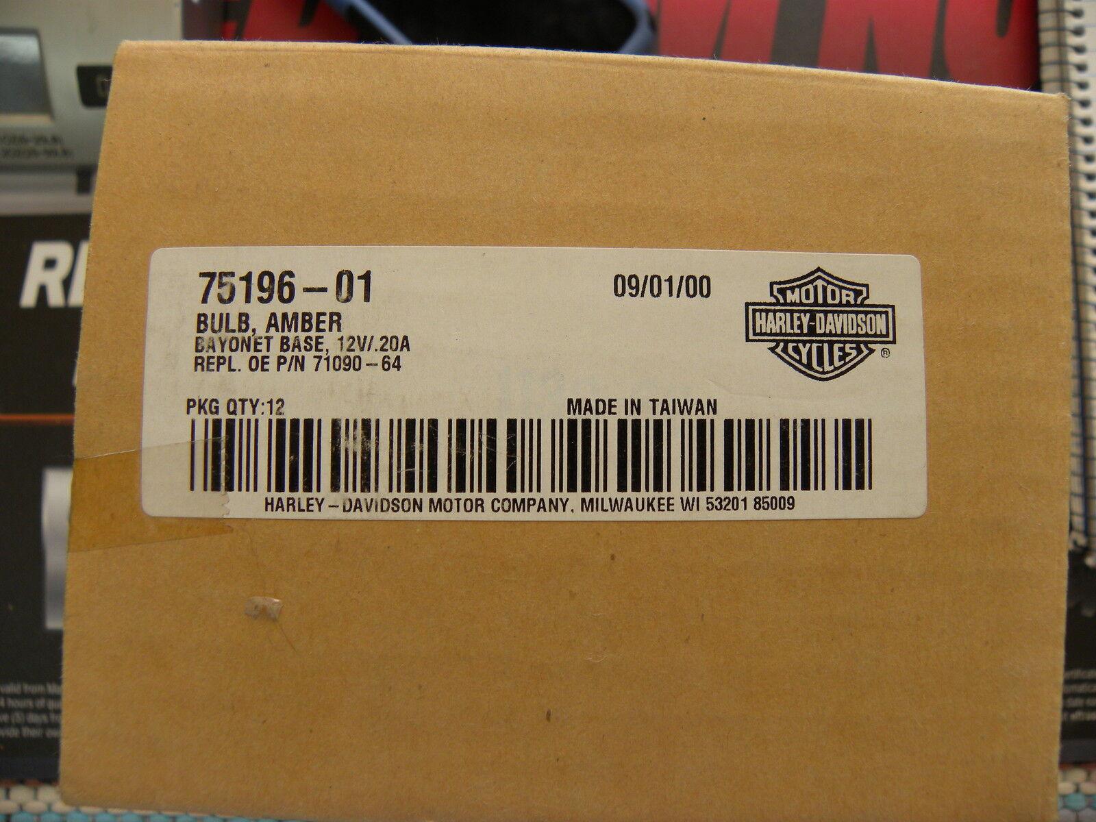 Harley Davidson Amber Light Bulbs 75199-01 NOS OEM 2 PACK 12V .12A Orange Bulb