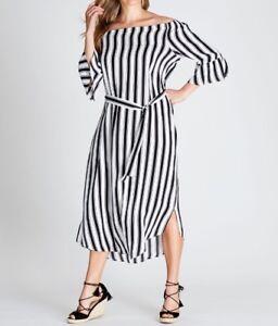 Crossroads-Off-The-Shoulder-Maxi-Dress-Black-amp-White-Stripe-Size-16-Free-Post
