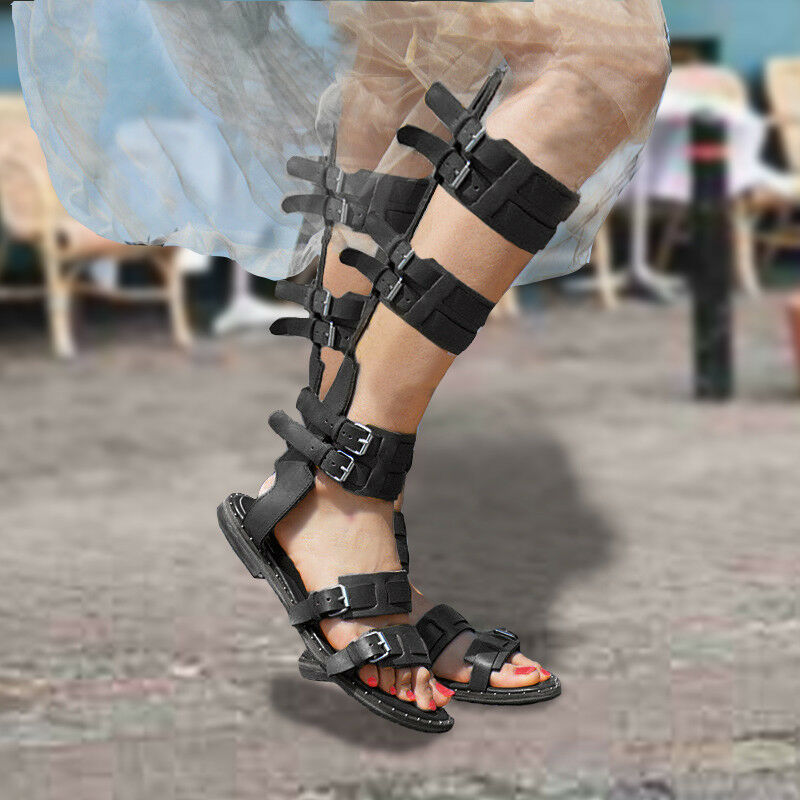 Para mujeres Sandalias Gladiador Gladiador Gladiador Romano Tiras Hebilla botas hasta la rodilla Taco Plano Alto 09  punto de venta