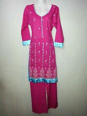 2 Pezzi Salwar Kameez Tunica + Pantaloni Costume Indiano Pakistan Suit 38-mostra Il Titolo Originale