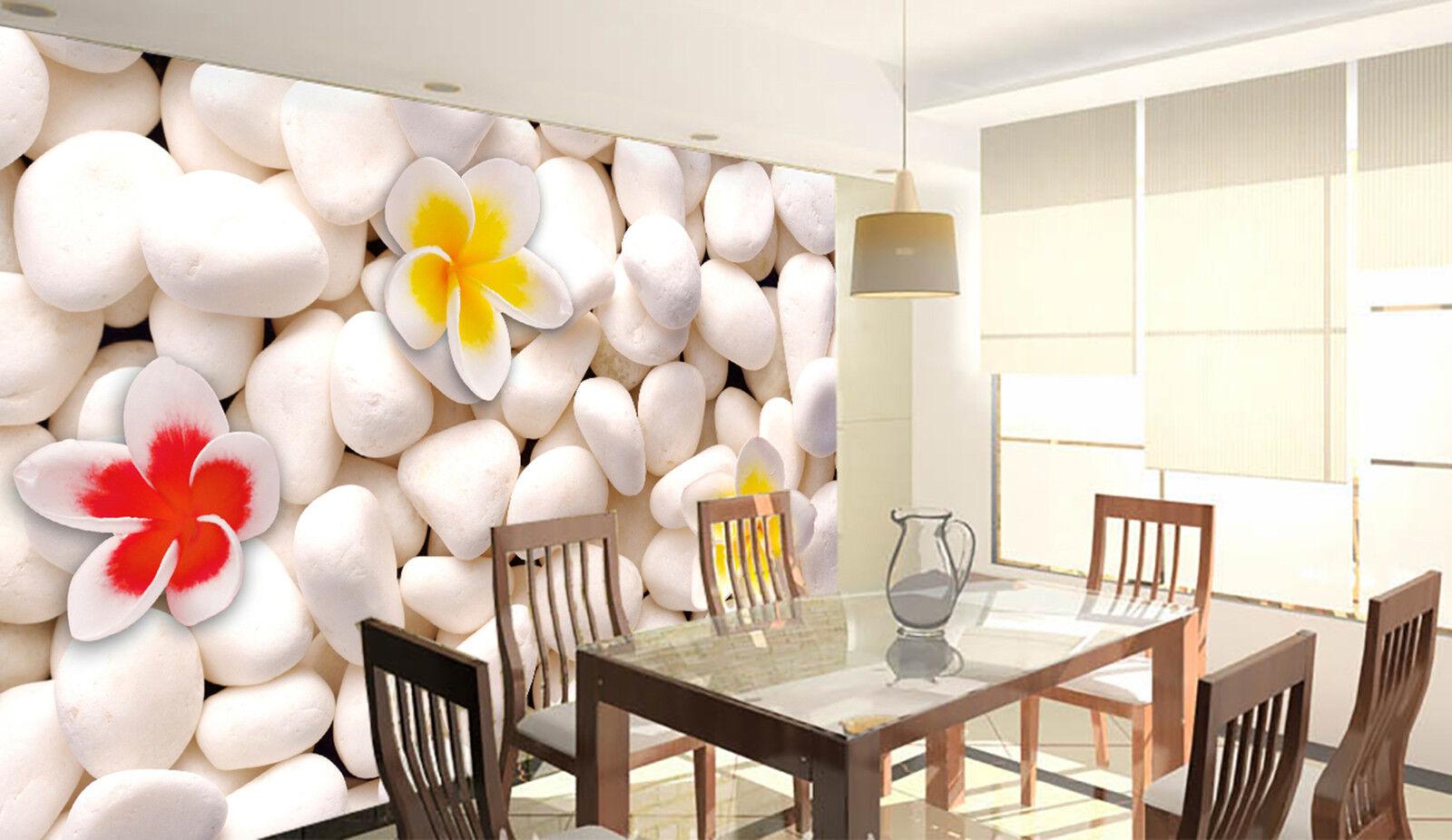 3D Kiesel Blumen Fototapeten Wandbild Fototapete Bild Tapete Familie Kinder