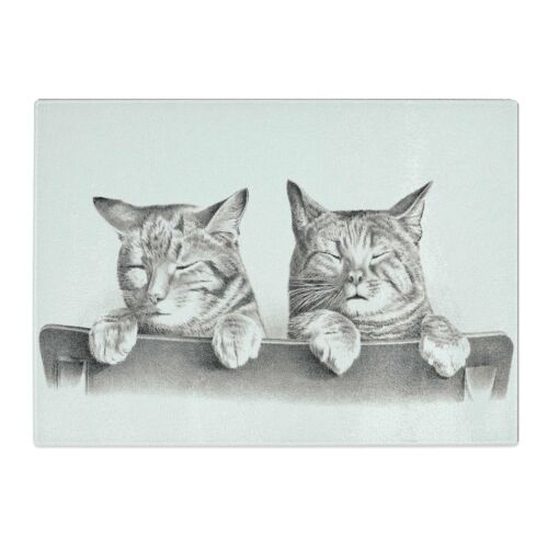 Cats by Thomas Hunter 1 x Glass Chopping Cutting Board Kitchen Surface Protector