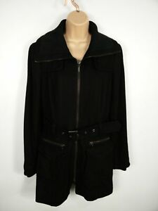 WOMENS-ESPRIT-BLACK-WOOL-MIX-HOODED-ZIP-UP-BELTED-CASUAL-JACKET-OVERCOAT-SIZE-12
