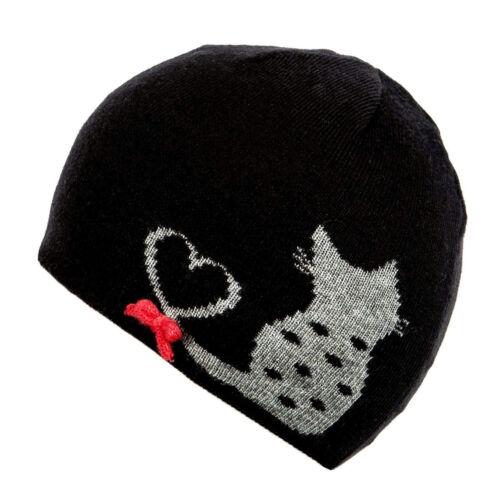 Alice Hannah Flossy Tricot Jacquard Chat Bonnet Noir ou Gris