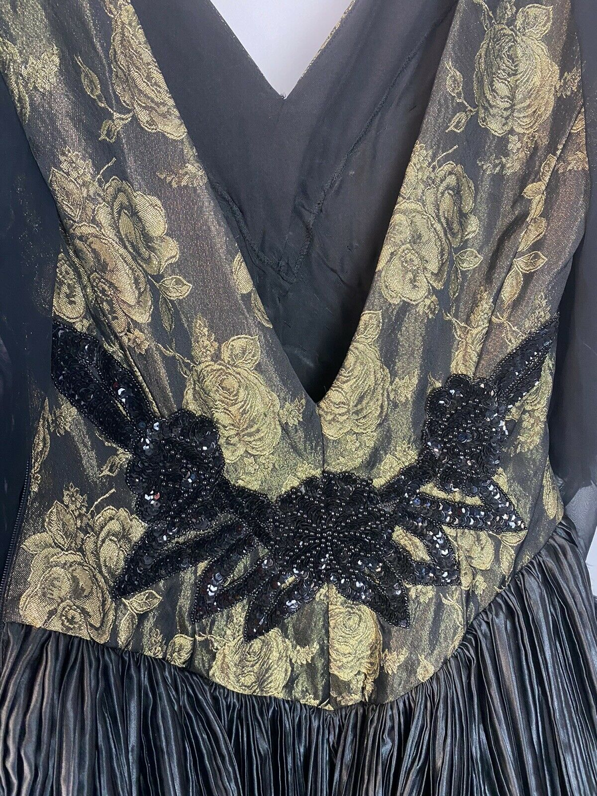 vintage black beaded feathered ball gown - image 7