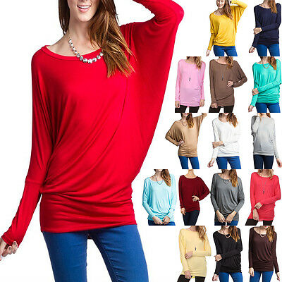 USA Women Plain Boat Neck Dolman Batwing Rayon Jersey Tunic Knit Loose Fit Top