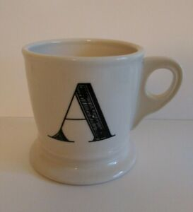 "Anthropologie Monogram ""A"" Alphabet Initial Shaving Style Coffee Mug White Black"