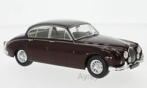 WHITE-Box-124029-Jaguar-MK-II-Modello-Diecast-Auto-Da-Strada-Rosso-Scuro-1960-SCALA-1-24th