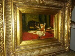 Gemaelde-mit-Katzen-Ol-auf-Platte-um-1900