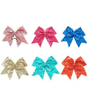 8inch-Large-Sequin-Cheer-Bow-Boutique-Girls-Ribbon-Cheerleading-Ponytail-Holder