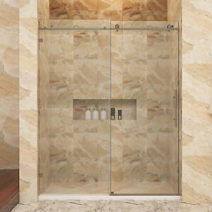 Details About Sunny Shower Fully Frameless Sliding Gl Door 48 X 76 Brushed Nickel