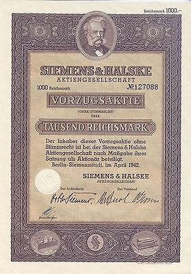 Berlin Siemens und Halske Vorzugsaktie 1000 RM 1942 Werner Siemens uncancelled