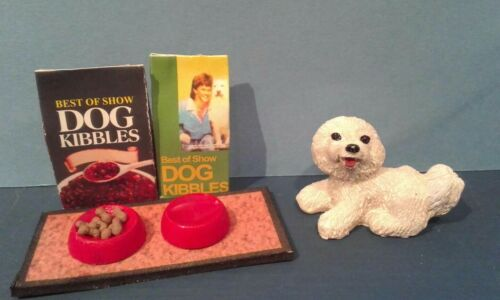 Dollhouse Miniature Cute White  Dog with food dishes on mat 2 bags of food