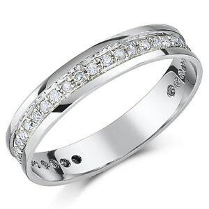 9-Ct-Or-blanc-Bague-eternite-en-diamant-4mm-troisieme-CARAT-0-33-mi-eternite