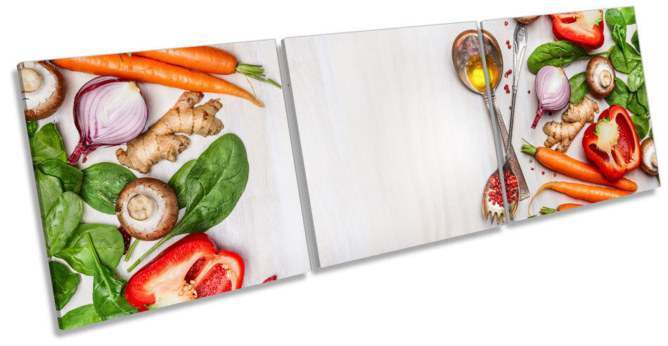 Kitchen Organic Fresh Vegetables Picture CANVAS WALL ART Triple Print