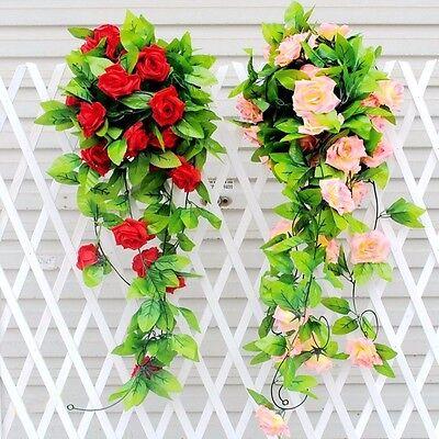 Artificial Fake Silk Rose Flower Ivy Vine Hanging Garland Wedding Home Decor UK