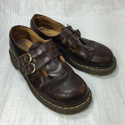 vintage doc martens brown perforated leather double buckle