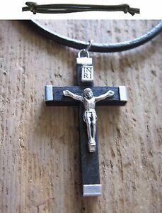 Herren-Kette-Kreuz-Jesus-Holz-Kreuzkette-Lederkette-braun-Herrenkette-Halskette
