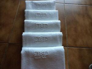 """5 Serviettes Table épaisse En Lin Monogramme """" T P """" / Towels Blanche"""