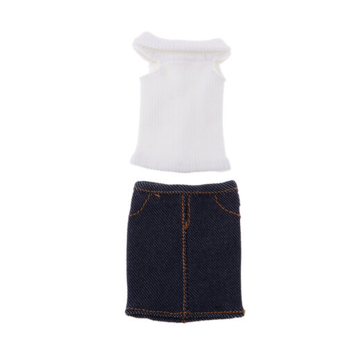 Ärmelloser 1 6 Minirock mit weiblichem Oberteil und Schuhen für 12 Zoll