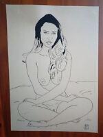 """Dessin encre de chine erotique, nu féminin fine art """"Tailleur"""" A4 Par Jean Carré"""
