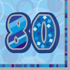 16-x-Blue-Glitz-80-Napkins-33cm-3ply-Mens-80th-Birthday-Party-Tableware-Supplies