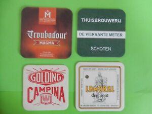 4  bierviltjes   TROUBADOUR    DE VIERKANTE METER     CAMPINA     LAMORAL /