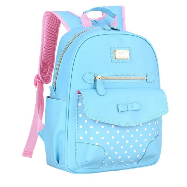 New Arrive Kids Girls PU Pupil School Bags Shoulder Backpack Cute Bowknot Gift