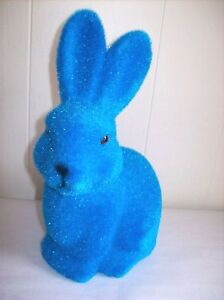 9-034-Flocked-Bunny-Figure-Blue-SO-CUTE