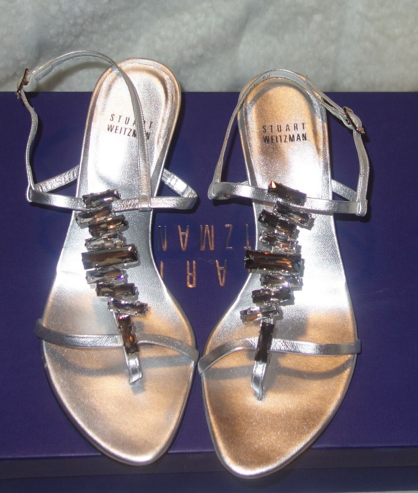 Stuart Weitzman Metallic Leather sz Adorn Jeweled Sandals silver sz Leather 36 US SZ 5.5 79be18