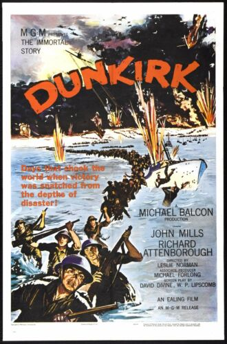 Dunkirk 1958 Movie Poster Print A0-A1-A2-A3-A4-A5-A6-MAXI 638