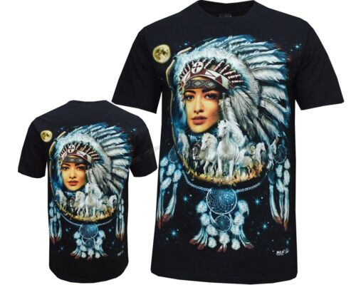 New Wolf Native American Red Indian Biker T XXL Shirt Front /& Back Print M