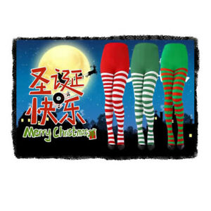 Womens Striped Holiday Tights Opaque Microfiber Stockings Nylon Footed PantyRPA