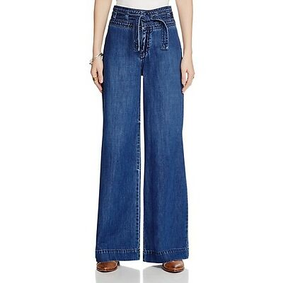 NWT Free People Augusta Belted Flare Jeans in Maytal Blue Retail $128