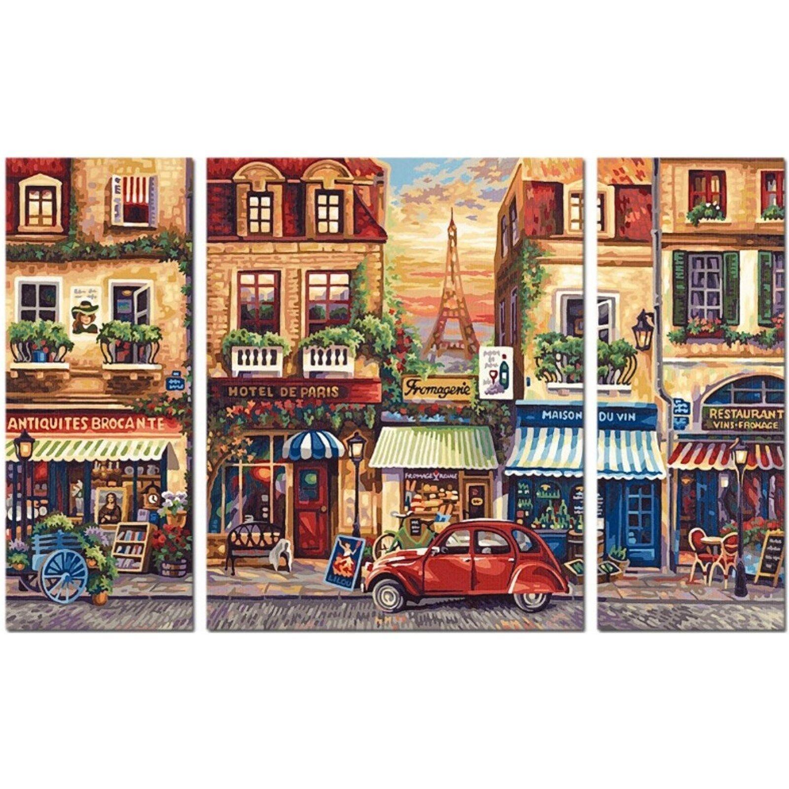Triptychon Pariser Stadtleben Paris Nostalgie Malen nach Zahlen Shipper 50x80 cm    Online Shop