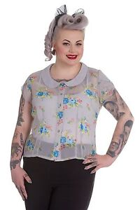 NEW-PLUS-SIZE-BEAUTIFUL-GREY-VINTAGE-FLORAL-BLOUSE-TOP-VINTAGE-SHEER-18-20-22