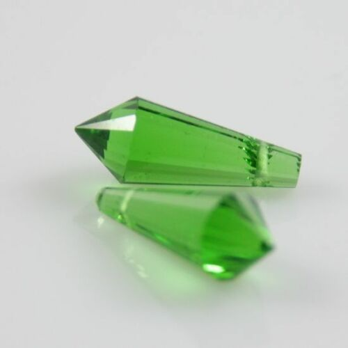 4pcs 8x20mm Gorgeous cone-shape crystal beads Grass-green