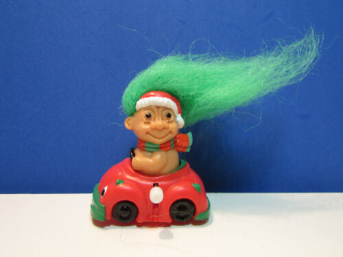 """SANTA IN HIS WIND UP CAR 3/"""" Russ Troll Doll Toy NEW"""