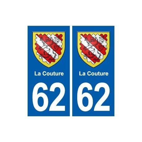62 La Couture blason autocollant plaque stickers ville arrondis