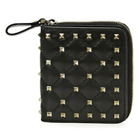 Valentino Rockstud Zip Around French Wallet (Black)