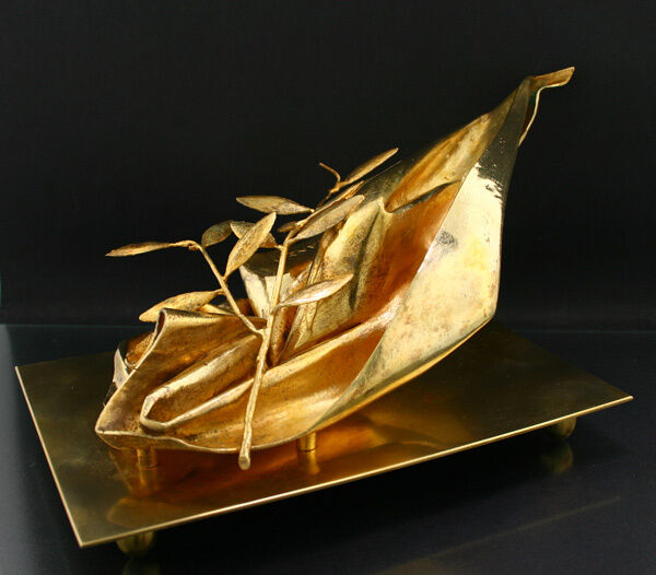 """Clever Giacomo Manzu (1908-1991 Italien) Skulptur In Silber """"tuch Mit Olivenzweig 1970 So Effektiv Wie Eine Fee"""